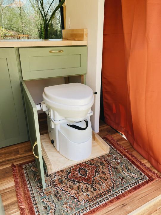 The couple's toilet in their van