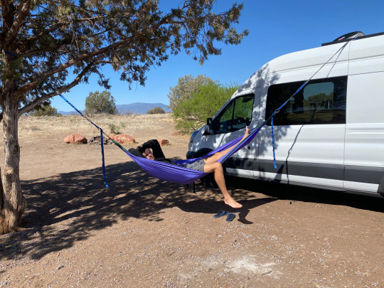 The couple love the freedom of van life and the slower pace of living
