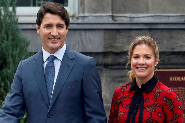 Canada's Prime Minister Justin Trudeau with wife Sophie Gregoire Trudeau