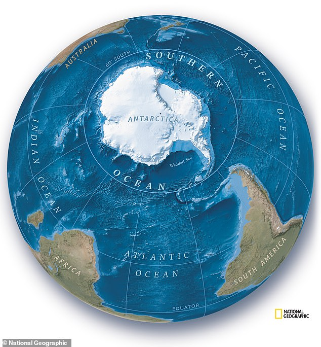 The National Geographic Society — which has been releasing maps of the world since 1915 — publicly announced their new policy yesterday, to coincide with World Ocean Day. Pictured: a new map of the southern hemisphere from the National Geographic, showing the 'new' ocean