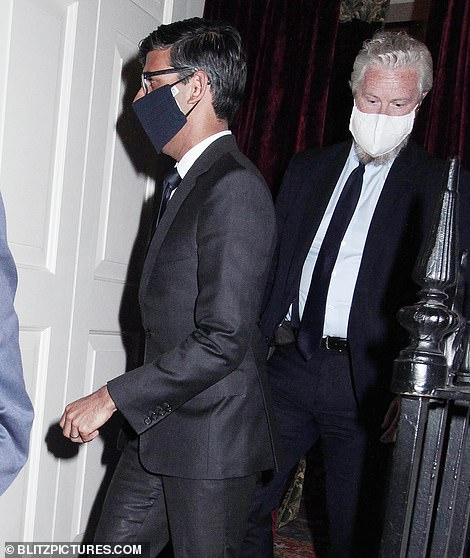 Rishi Sunak could reluctantly accept an extension to lockdown ¿ but for no longer than 'a week or two'. But The Guardian today reported he would be prepared to wait up to four weeks. He is pictured at Oswald's Club in London last night
