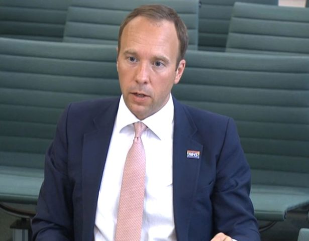 Screen grab of Health Secretary Matt Hancock giving evidence to the Science and Technology Committee and Health and Social Care Committee over allegations by Dominic Cummings