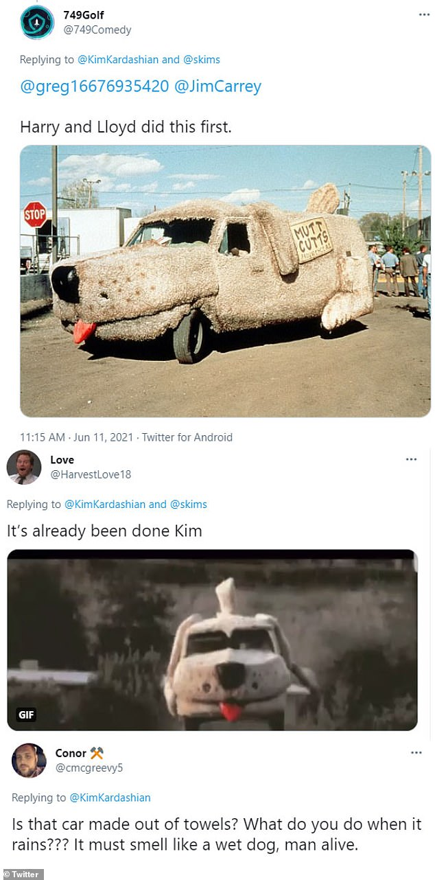 Lambasted: After debuting the car on Friday Kim was roasted by the internet as some compared it to the dog van in Dumb and Dumber