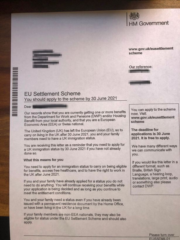 The 'threatening' letter many have been sent even though they are British citizens