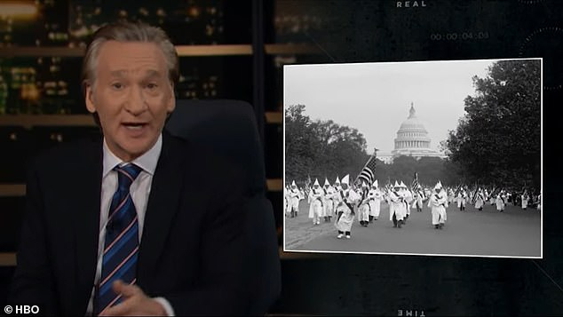 He also spoke of a time when the KKK were able to march around Washington DC (as shown in this image)