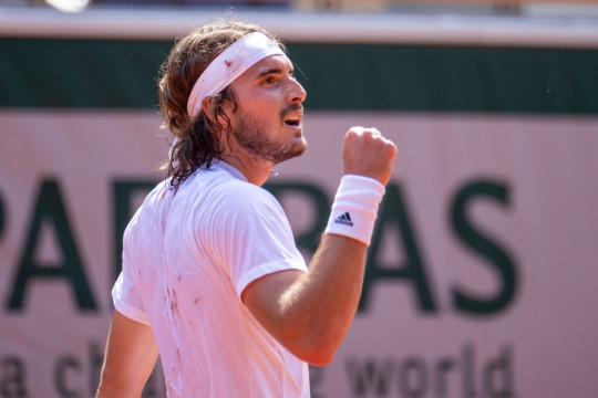 Stefanos Tsitsipas of Greece reacts during his match against Alexander Zverev of Germany on Court Philippe-Chatrier during the semi finals of the singles competition at the 2021 French Open Tennis Tournament at Roland Garros on June 11th 2021 in Paris, France.