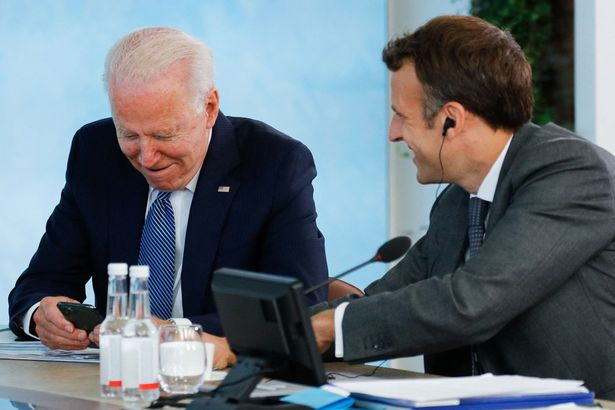 Macron at the G7 with US President Joe Biden - who has raised fears over Northern Ireland