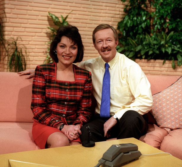 Lorraine in 1984 with fellow TV-am presenter Mike Morris