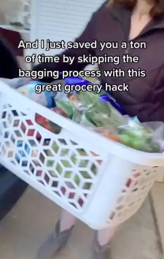 Laundry basked grocery shopping hack