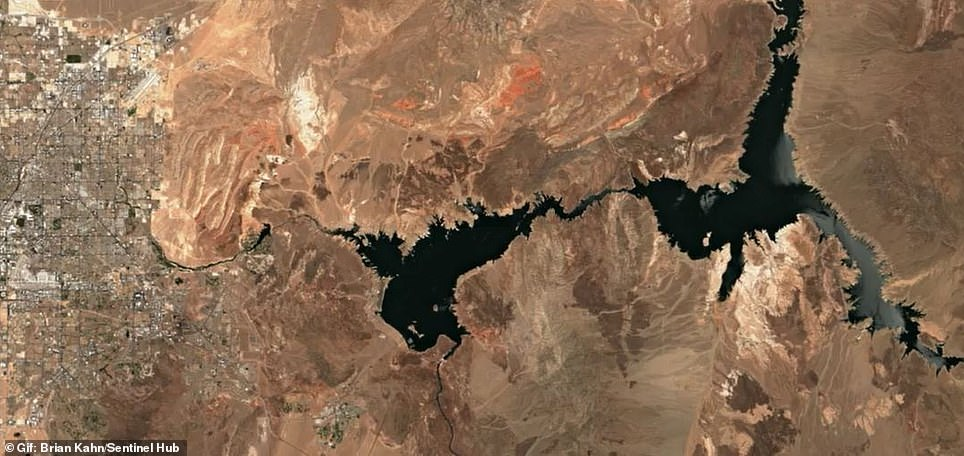 Lake Mead's water level is projected to hit elevation 1,071.61 feet, sinking to its lowest elevation on record since the 1930's. Pictured is a 2021 satellite image