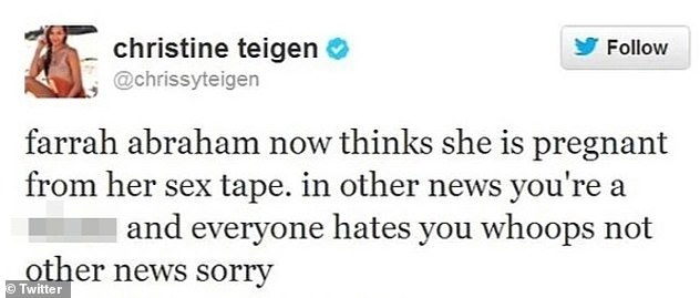Vitriolic: Teigen shared this tweet about Farrah in 2013