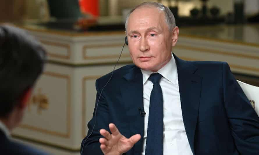 Vladimir Putin during the NBC News interview in Moscow