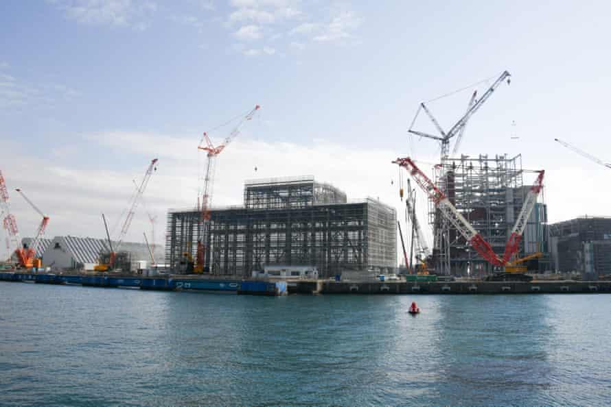 Construction of the Yokosuka coal-fired power plant is underway near the port of Kurihama on Tokyo Bay.