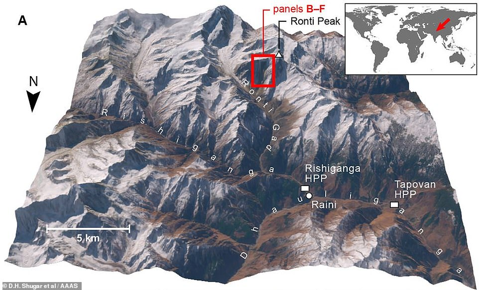 Where it happened: The collapse of the wedge of rock and ice caused a torrent of icy water, mud and debris to barrel down the valley, causing significant destruction in the Chamoli district of the Indian state of Uttarakhand, in the western Himalayas