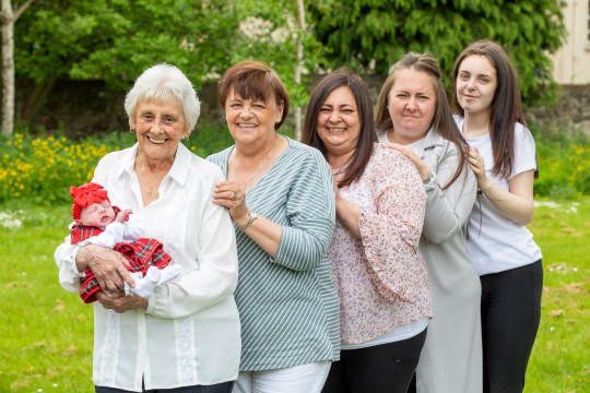 Mary Marshall, 86 with Two-week-old Nialia, Rose, 68, Chyrel, 50, Carrie, 35, Toni-Leigh, 17. Six generation family (thought to be biggest in Scotland) oldest is 86 and youngest is a week old. June 9 2021 . See SWNS story SWTPgeneration. A family have become one of the only in the UK with six generations alive at the same time - with one becoming Scotland's only great-great-great-grandma aged 86. The family, stretches from oldest member Mary Marshall, 86, to their youngest member Nyla Ferguson, who is just a couple of weeks old. Mother-of-eight Mary - who was born four years before the start of World War Two - boasts a whopping 90 grandchildren. The women are all on the same side of the family - and all except new mum Toni-Leigh work, or worked, as carers for the NHS.