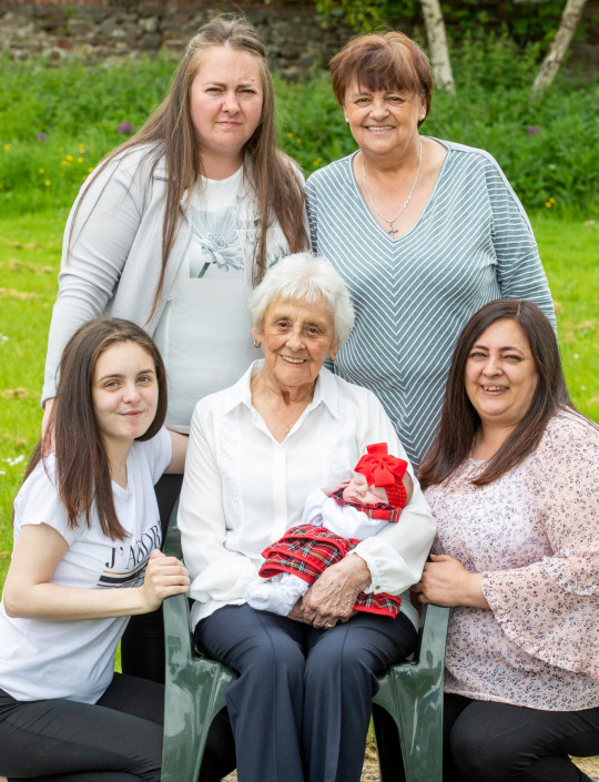 Mary Marshall, 86, Rose, 68, Chyrel, 50, Carrie, 35, Toni-Leigh, 17, Two-week-old Nialia. Six generation family (thought to be biggest in Scotland) oldest is 86 and youngest is a week old. June 9 2021 . See SWNS story SWTPgeneration. A family have become one of the only in the UK with six generations alive at the same time - with one becoming Scotland's only great-great-great-grandma aged 86. The family, stretches from oldest member Mary Marshall, 86, to their youngest member Nyla Ferguson, who is just a couple of weeks old. Mother-of-eight Mary - who was born four years before the start of World War Two - boasts a whopping 90 grandchildren. The women are all on the same side of the family - and all except new mum Toni-Leigh work, or worked, as carers for the NHS.