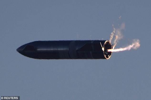 The sideways flip, dubbed a 'belly flop' manoeuvre by Musk, was designed to mimic the technique Starship will use when returning through Earth's atmosphere. Pictured, SN8
