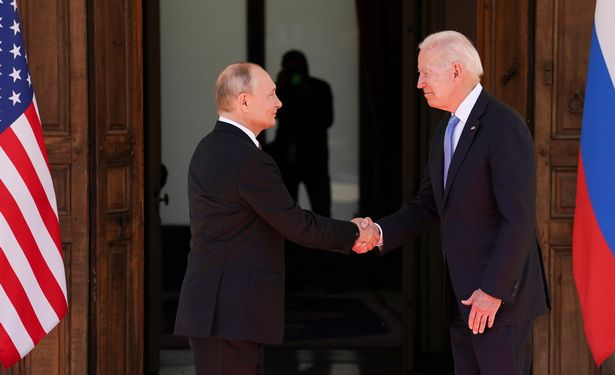 Putin and Biden shook hands as they arrived for the historic summit