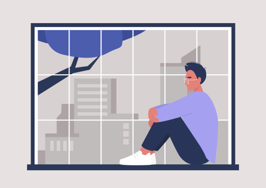 Young male character sitting at the window,  big city panorama, millennial lifestyle