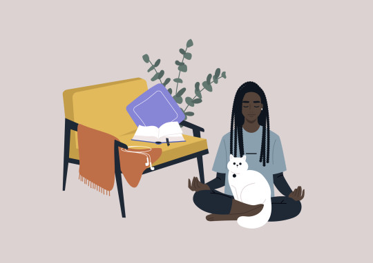 Meditation at home, a young female Black character sitting on the floor in the living room with a cat on their lap