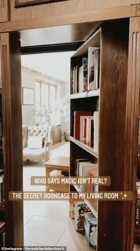 Look inside: The bookcase opens as a door to show off the incredible living room