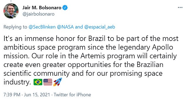 Brazil signaled its intent to sign into the Artemis Accords in December 2020 after signing a statement of intent with former NASA Administrator Jim Bridenstine