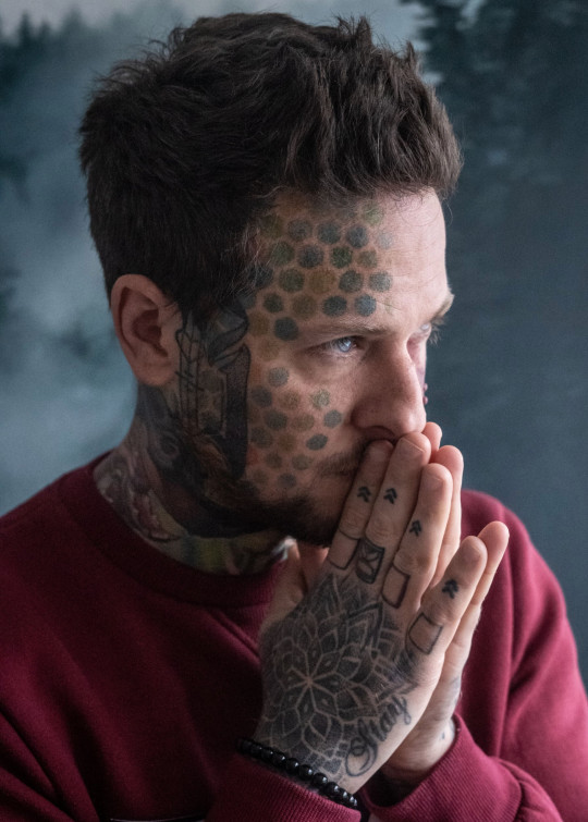 Heywood says that since getting tattoos on his face, hands and neck, his anxiety about his birthmark has almost entirely disappeared
