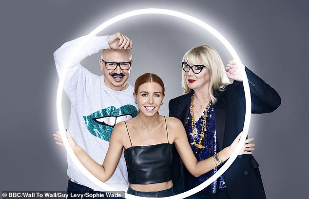 Glow Up presenter and judges. Dom Skinner, Stacey Dooley, Val Garland (left to right)
