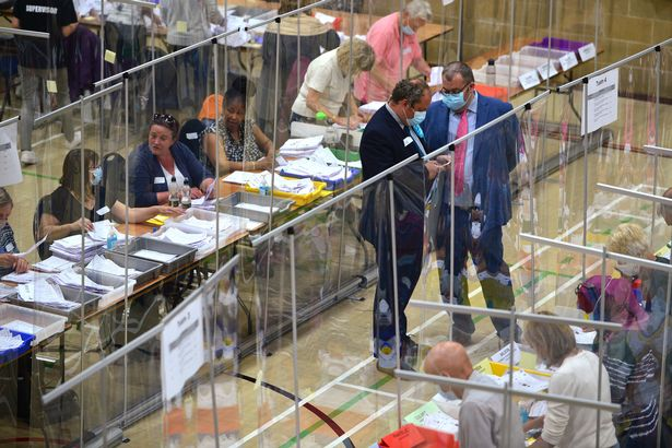 Election officials at the count