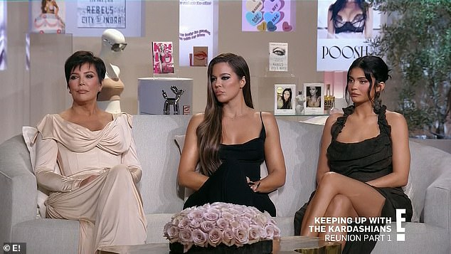Sitting together: The family got dressed up for the reunion with Kris, Khloe and Kylie sitting together