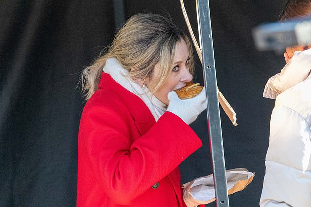 Fresh: Co-host Ally, 42, was seen taking bites of her freshly made meat pie after the show