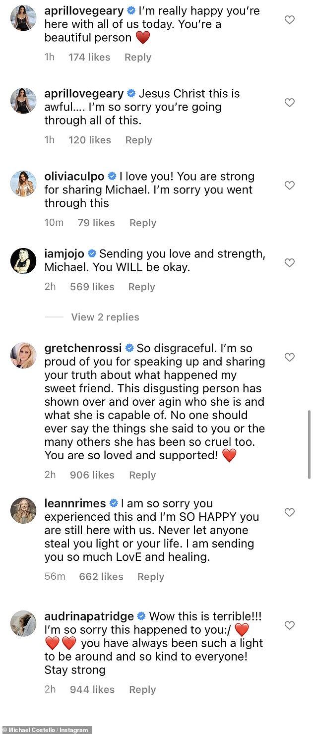 A number of celebs including April Love Geary, Audrina Patridge and LeAnn Rimes chimed in with supportive comments for the embattled designer