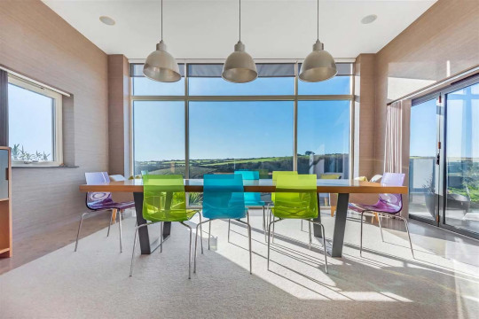 Five-bedroom detached house, Newquay, Cornwall - dining area with views