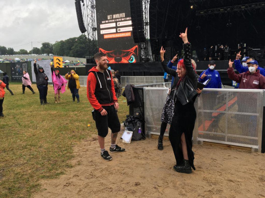 lauren and jamie mecaloon having a humanist wedding ceremony at Download Festival 2021