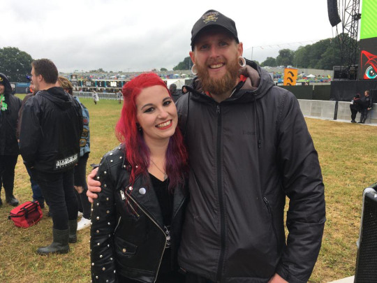lauren and jamie at download festival after getting married