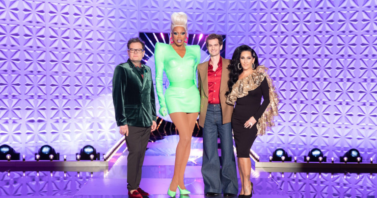 Television programme, 'Ru Paul's Drag Race UK' - TX: 03/10/2019 - Episode: n/a (No. n/a) - Picture Shows: **STRICTLY EMBARGOED UNTIL 24/09/2019 00:00:01** Alan Carr, RuPaul, Andrew Garfield, Michelle Visage - (C) BBC/World of Wonder - Photographer: Guy Levy