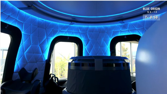 The interior of the Blue Origin space capsule Jeff Bezos will use to go into space.