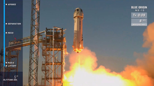 The New Shepard rocket lifts off from its launchpad in Texas, to test new lunar-landing technology for Nasa