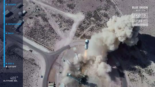 Blue Origin's New Shepard suborbital launch vehicle lifts off from Van Horn, Texas, U.S., January 14, 2021