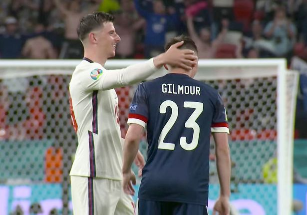 Mason Mount was seen hugging Chelsea teammate Gilmour after the game