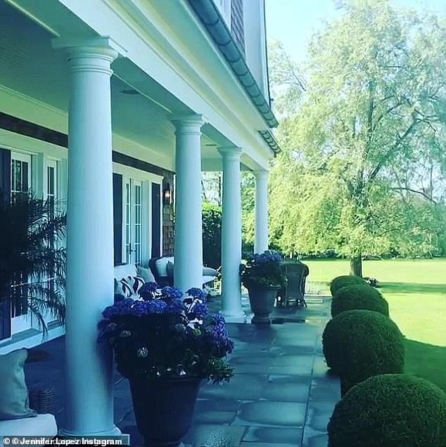 Her Hamptons home: The Jenny From the Block singer has a $10M home in Water Mill; seen here in a video shared by Lopez last summer
