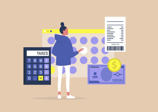 Young female character filing a tax return, Declaring an income