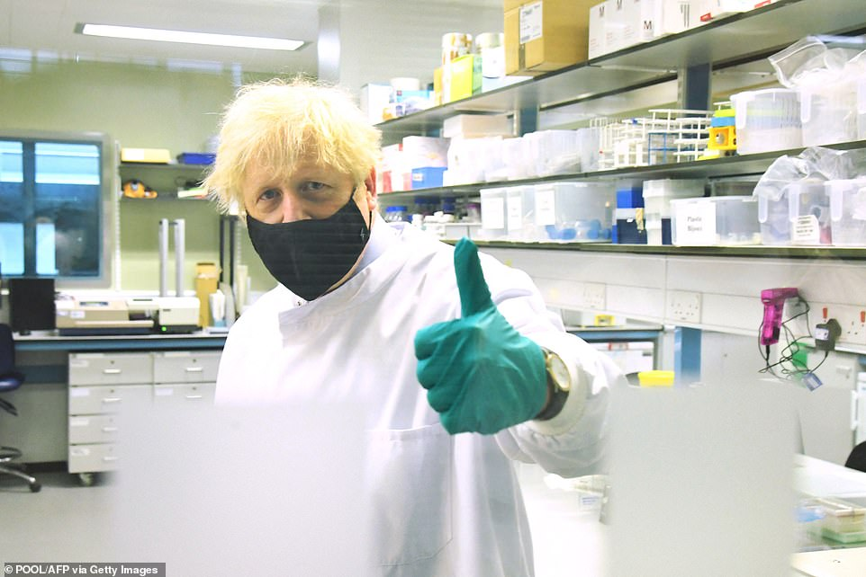 Boris Johnson struck a pessimistic tone during a visit to a laboratory in Hertfordshire as he said 'Delta' variant cases, hospitalisations and admissions to intensive care are still rising