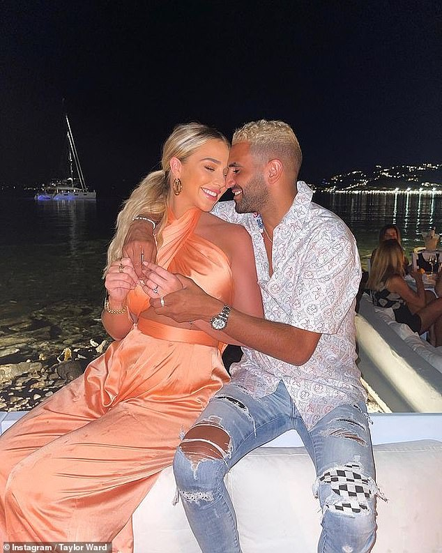 Happy couple: Taylor, 23, announced the news on Instagram sharing two loved-up snaps of the couple and gushing: 'Here's to a lifetime of us'