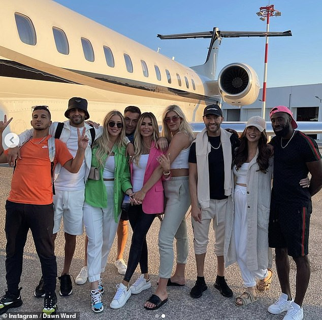 Living the life:Taylor and Riyad are currently soaking up the sunshine in Mykonos after flying in on a private jet with their pals and her mum Dawn
