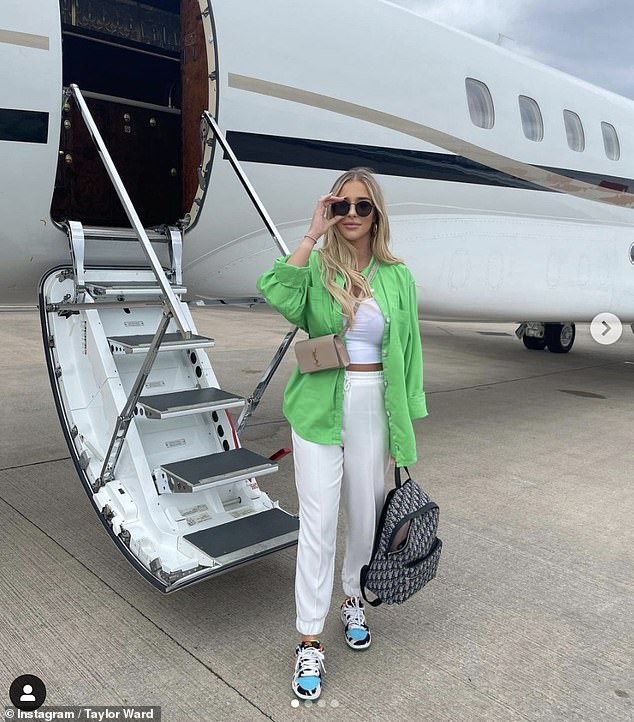 Stunning: Taylor has been keeping fans updated with their luxury break to the Greek island