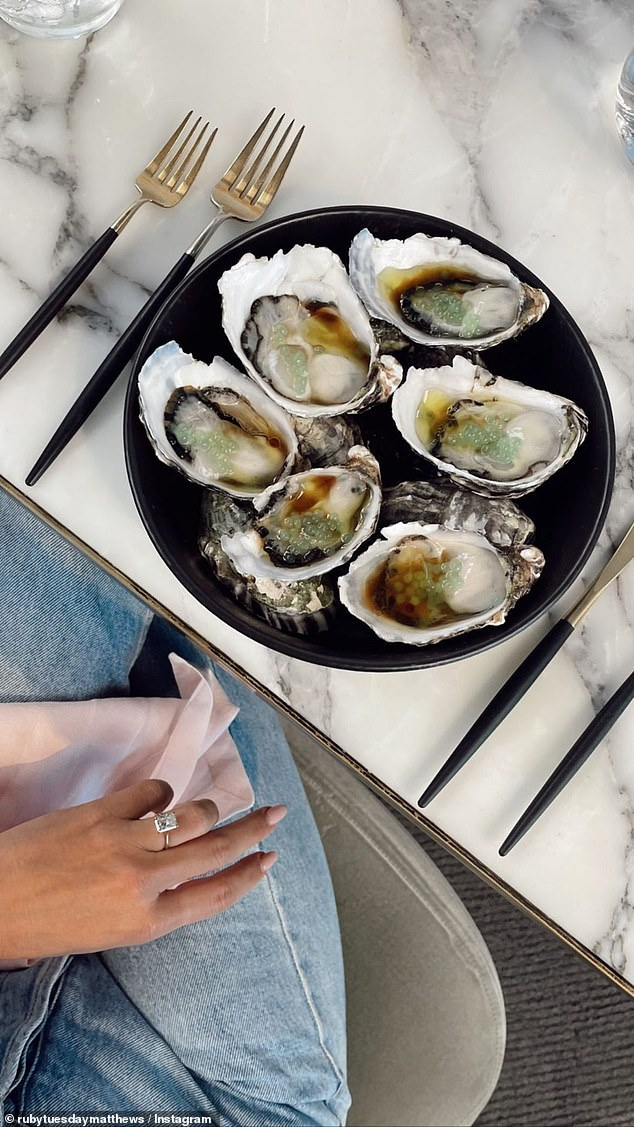 Wow: Meanwhile, on her Instagram Story, Ruby shared a post showing a plate of oysters and another angle of her ring