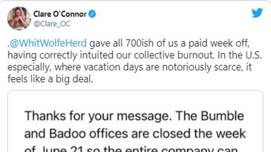 Bumble's head of editorial content praised the decision (Twitter)