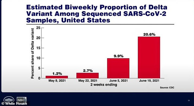 The Delta variant, which is more infectious than other strains, now makes up 20.6% of infections in the U.S., up from 10% two weeks ago