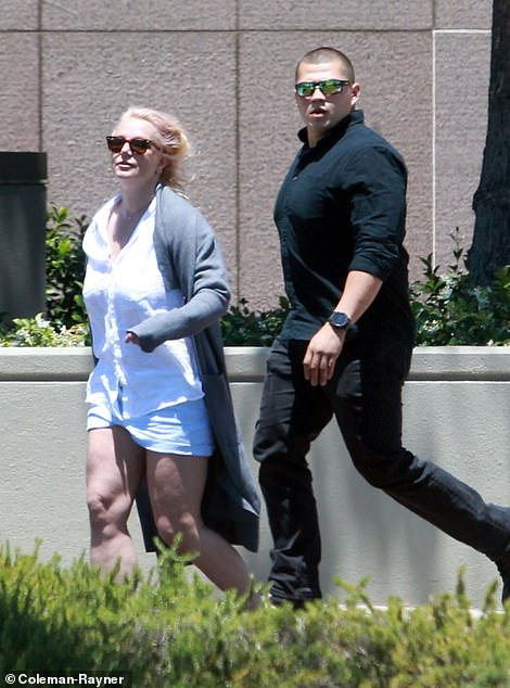 Natural: Britney's complexion looked noticeably devoid of makeup and she concealed her brown eyes behind a pair of tortoise shell shades